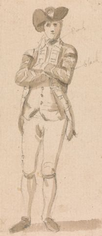 Paul Sandby, 1731-1809, British, Standing Figure of a Young Man, undated, Graphite and brown wash on medium, cream, slightly textured wove paper, Yale Center for British Art, Paul Mellon Collection