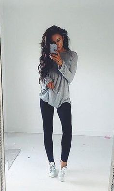 24 Effortlessly Cute Leggings Outfit Ideas #leggings #outfit #fall #winter #lazy #casual