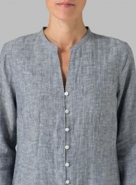 Linen Double Layers Long Top Two Tone Blue/White