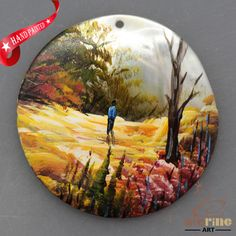 HAND PAINTED ABSTRACT SCENERY MOTHER OF PEARL SHELL NECKLACE PENDANT ZL30 06345 #ZL #PENDANT