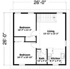 Just square, this two bedroom Carriage house gives you an open living space upstairs and handsome detailing on the exterior.Use it for guest accommodations or rental income or as a Vacation getaway.One hall bathroom serves both bedrooms. 2bhk House Plan, Small House Floor Plans, Simple House Plans, House Layout Plans, 2 Bedroom Apartment Floor Plan, Three Bedroom House Plan, Garage Apartment Plans, The Plan, 20x30 House Plans