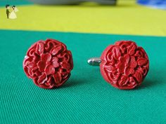 Red Rose Cufflinks - Groom cufflinks and tie clips (*Amazon Partner-Link)