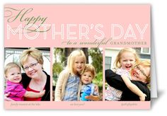 Happy Grandma Collage Mother's Day Card, Square Corners, Pink