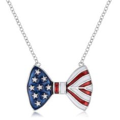 Stars and Stripes Bow Tie Necklace with CZ - Jewelry