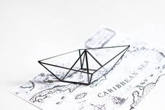 Paper boat . Stained glass paper ship. Origami от hereandnowshop