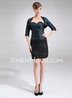 Mother of the Bride Dresses - $137.39 - Sheath Sweetheart Short/Mini Taffeta  Lace Mother of the Bride Dresses With Ruffle  Beading (008006478) http://jenjenhouse.com/Sheath-Sweetheart-Short-Mini-Taffeta-Lace-Mother-Of-The-Bride-Dresses-With-Ruffle-Beading-008006478-g6478
