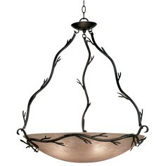 $252.00 Inspired by nature, the elegant Long Branch collection pendant blends the vibrancy of a climbing vine with the soft glow of a light amber glass shade. This becoming five-light fixture is ideal for both Asian-influenced and rustic or country-style rooms.