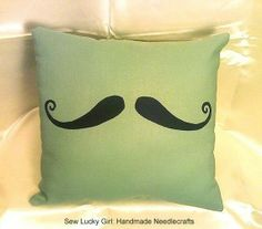 """Stache Pillow""-Hipster Handlebar Moustache pillow with little back pocket for stashing goodies, comes with pocket puff, by sewluckygirl on Etsy, $24.99"