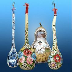 Gourd with painted flowers-so pretty