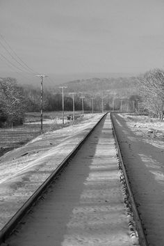 Railway tracks, electric lines, snowy, snow, Winter, peaceful, beauty of Nature, cold, b/w, on rails