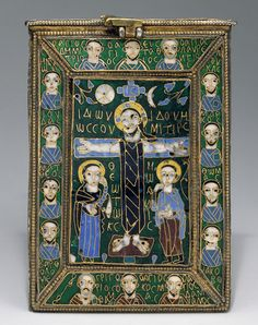 Byzantine Reliquary of the True Cross, c. late 8th - early 9th century.   Made in Constantinople of cloisonné enamel, silver, silver-gilt, gold, and niello