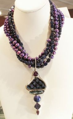 """Starlight"" necklace from Aurora Fused Glass by Patti Quinn, see description below.  $549"
