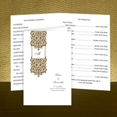 Elegant Wedding Programs from the industry's leading manufacturers. We offer a vast collection of Wedding Programs in a variety of colors and styles. Elegant Wedding Programs, Wedding Ceremony Programs, Order Of Service, Personalized Wedding, Damask, Stationery, Monogram, Damascus, Papercraft