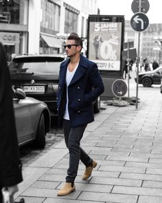 Nautical coat + chelsea boots men street style fashion brought to you by Tom Maslanka