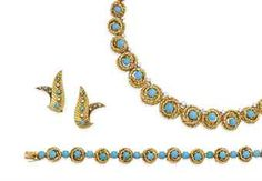 HALF TURQUOISE AND DIAMONDS, BY VAN CLEEF & ARPELS AND PAIR OF TURQUOISE EARRINGS AND DIAMONDS The half-parure consists of a necklace formed of a succession in fall of round links in twisted gold, some punctuated with a turquoise cabochon and punctuated with a round diamond, 39 cm., And a bracelet formed of links Circles in twisted gold, punctuated with a turquoise cabochon. The necklace in its jewel case Necklace signed VCA for Van Cleef & Arpels,  bracelet signed Van Cleef & Arpels, no…