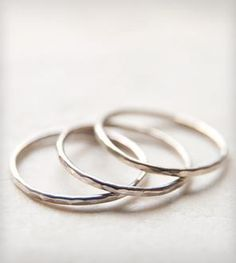 Faceted Sterling Silver Stacking Rings – Set of 3