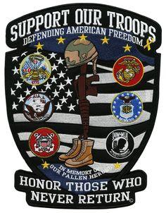 78a3bfa1b7f Support Our Troops US Military Shield Army Navy Marines Veteran Large Patch  American Flag