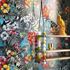 Rohkeat, jopa räväkät väriyhdistelmät kuuluvat poptyyliin. Seinälaatat: LPC Mash-Up, kuosi Jungle 2  │ Laattapiste Retro, House, Painting, Up, Design, Home, Painting Art, Haus, Paintings