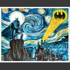 The Dark Starry Knight (Vincent van Gogh x Batman mashup) poster. £10