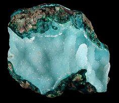 Quartz over Chrysocolla from Ray Mine, Pinal County, Arizona