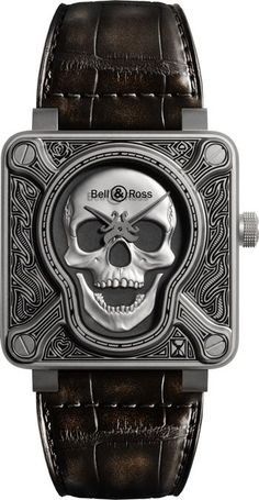 Buy the Bell & Ross BR Automatic Burning Skull Watch at a discount price. All current Bell & Ross styles available. Bell Ross, Dream Watches, Cool Watches, Rolex Watches, Unique Watches, Skeleton Watches, Patek Philippe, Luxury Watches For Men, Automatic Watch