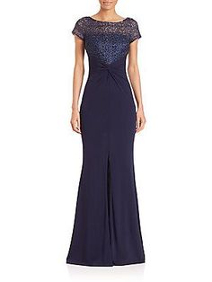 David Meister Lace-Bodice Jersey Gown