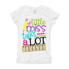 $16 Girls Back to School Shirt - Little Miss Talks A Lot Shirt - Girls funny shirt - Girls Ruler Shirt - Kids Shirt by BluMagnoliaCo on Etsy