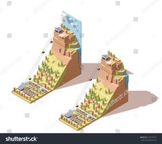 Vector Isometric infographic element or icon representing travel on cableway from the lower station to the viewing platform on mountain with waterfall