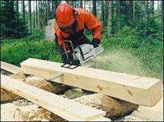 Granberg Small Chain Saw Mill Made in USA . Add your chainsaw and start making lumber! Bolts to your saw bar with no drilling. Portable Bandsaw Mill, Portable Saw Mill, Chainsaw Mill Plans, Chainsaw Repair, Chainsaw Mill Attachment, Homemade Chainsaw Mill, Chainsaw Accessories, Wood Jig, Lumber Mill