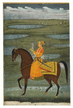 A prince riding in a landscape holding a falcon, attributable to Hunhar or a follower, circa 1690-1720 | lot | Sotheby's