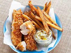 Pescado crujiente y papas fritas horneados