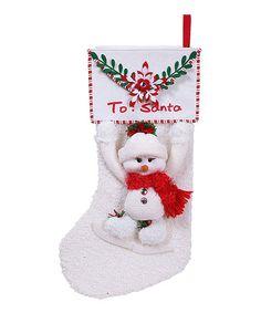 Another great find on #zulily! Boy Snowman 'Letter To Santa' Stocking #zulilyfinds