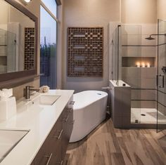 Master Bath - I think my husband would love this.  I'd change the cabinets and hardware.