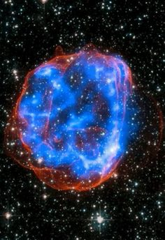 In this image, an expanding shell of debris called SNR is left behind after a massive star exploded in the Large Magellanic Cloud, a satellite galaxy to the Milky Way. Multimillion degree gas is seen in X-rays - NASA/CXC/SAO Cosmos, Hubble Space Telescope, Space And Astronomy, Hubble Images, Hubble Pictures, Star Images, Space Photos, Image Of The Day, Amazing Spaces