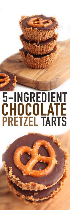 These decadent #vegan #chocolate pretzel tarts are deceivingly simple with just 5 ingredients! So what are you waiting for? Click the photo for this easy-to-make recipe.