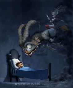 """""""Nightmare"""" drawn by Chris Sanders and painted by Bobby Chiu"""