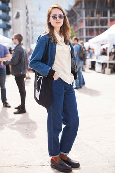 10 Killer Fall Outfits Found At The Flea Market #refinery29  http://www.refinery29.com/brooklyn-flea-street-style#slide-8  Pair your Canadian tuxedo with a loafers-and-quirky-socks combo....
