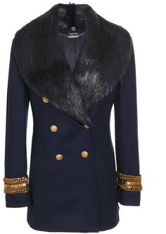 Obama wear ALEXANDER MCQUEEN Fleece-wool Military Coat with Fur Collar  Military Style Coats, 6b119bfb510