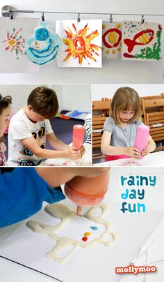 RAINY DAY FUN - We had great fun with microwave puffy painting on saturday at our arts & crafts class and the kids would have kept experimenting for the day if their parents hadn't come to whisk them away!!. It's the perfect project for home – easy and quick to prepare and guaranteed to keep the littles entertained for at least an hour  :) http://mollymoo.ie/2012/07/rainy-day-project-1/