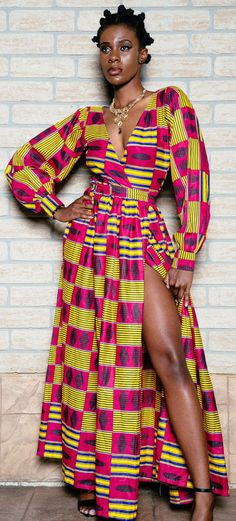 African print wrap dress. African print dinner dress, floor length, african clothing, african dress, the african shop, african wedding dress, african outfit. (affiliate)