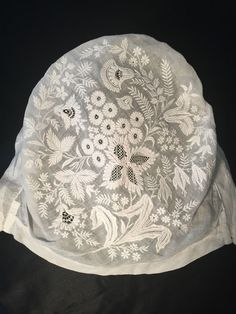 Antique 19thc Whitework Embroidered Lace Bonnet Hat