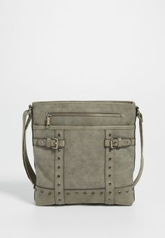 crossbody bag with buckles and rhinestone studs (original price, $34.00) available at #Maurices