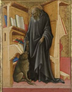 Saint Jerome in his Study, c.1420, Lorenzo Monaco; the saint is depicted with his symbolic attributes, a lion, books and, hanging on the wall, a cardinal's red hat. (Rijksmuseum)