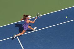 Agnieszka Radwanska (POL)[2] plays Carla Suarez Navarro (ESP) on Grandstand at the US Open. - Billie Weiss/USTA