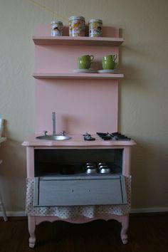 Honeybee Vintage: DIY Play Kitchen (from a nightstand)