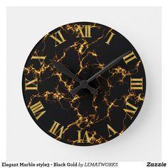 Elegant Marble style3 - Black Gold Round Clock