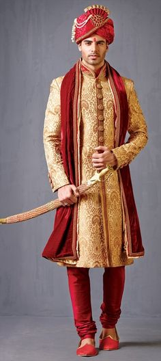 502013 Beige and Brown color family Sherwani in Brocade,Jacquard fabric with Machine Embroidery work . Wedding Photography Cameras, Indian Wedding Photography, Photography Couples, Sherwani Groom, Wedding Sherwani, Punjabi Wedding, Indian Men Fashion, India Fashion, Groom Fashion