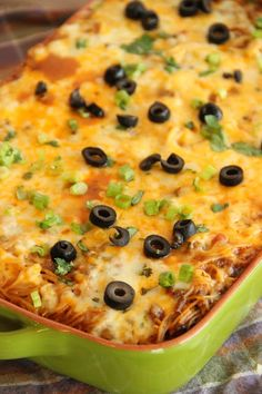 Taco Spaghetti Bake - Change up your usual spaghetti night by making it with wonderful Mexican flavors and melty cheese!