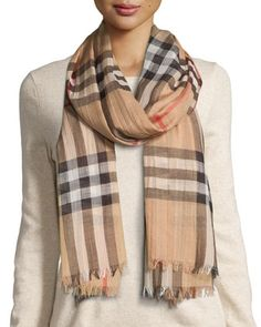 Gauze+Check+Scarf,+Camel+by+Burberry+at+Neiman+Marcus.