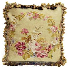 French Market Collection Antique Green Rose Aubusson Pillow FMCPA029